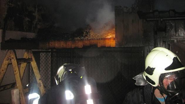 Požár kůlny v Kunovicích