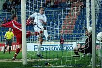 Aleš Chmelíček právě vstřelil první gól Slovácka v souboji s Vítkovicemi.