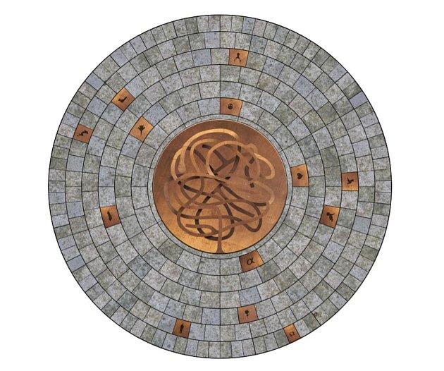 První varianta labyrintu ve Zlatém kříži počítá s umístěním symbolů a ikon do dlaždic mimo samotný reliéf.