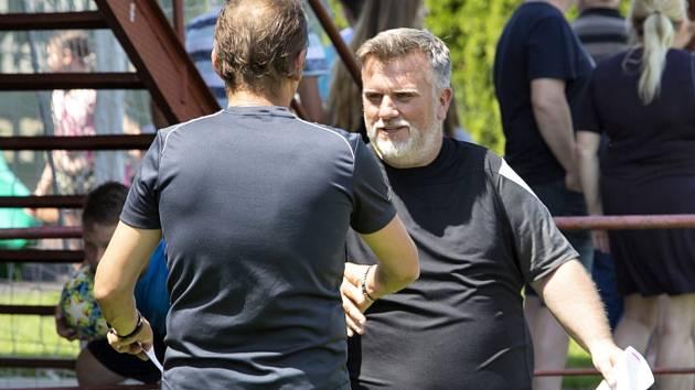 Trenér béčka Slovácka Jiří Saňák při zápase v Uherském Brodě.