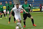 Fotbalisté Slovácka (v bílých dresech) ve 25. kole FORTUNA:LIGY hráli s Jabloncem. Na snímku Tomáš Zajíc.