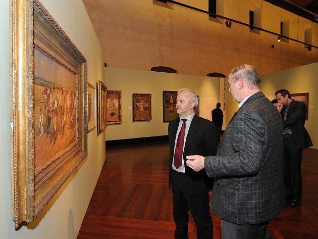 Libor Lukáš s Petrem Vašátem (vpravo)  na výstavě.