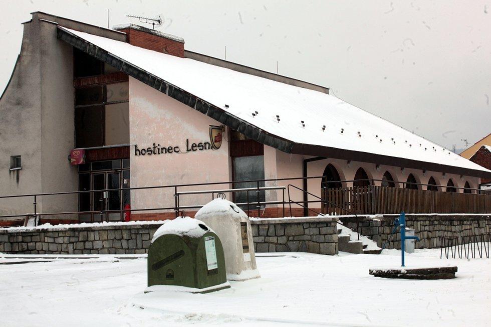 Horní Němčí v únoru 2021. Restaurace Lesná.