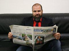Ředitel Slováckého divadla Michal Zetel v redakci Slováckého deníku při ON-LINE rozhovoru.