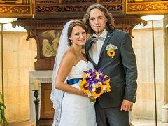 Soutěžní svatební pár číslo 70 - Veronika a Vlastimil Mazáčovi z Jívové obsadil 3. místo.