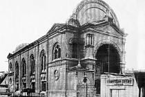 Židovská synagoga v Uherském Hradišti.Třicátá léta minulého století.