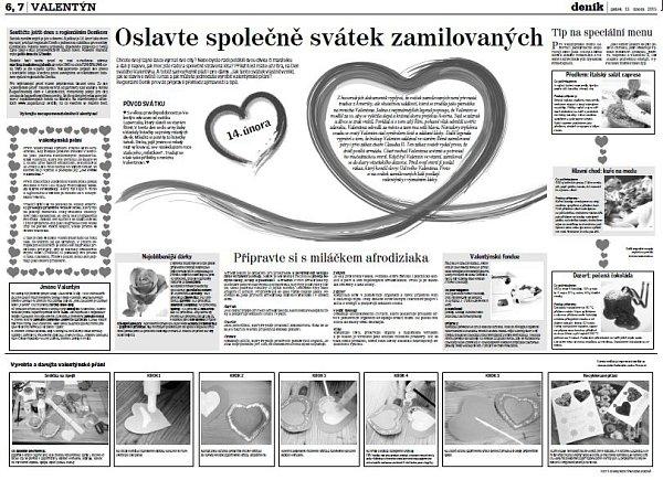 Strana Slováckého deníku kValentýnu.