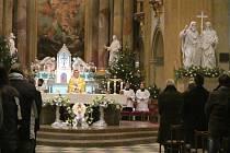 Štědrovečerní půlnoční mše v bazilice Nanebevzetí Panny Marie a svatých Cyrila a Metoděje ve Velehradě.