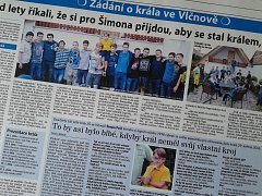 Dvojstrana týdeníku Slovácké noviny, věnovaná vlčnovské jízdě králů 2016.