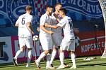 HET liga 1. kolo: 1. FC Slovácko - FK Jablonec. Na snímku se po gólu na 1:0 radují zleva Tomáš Zajíc a Jan Navrátil.