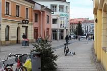 Jeden z vyhozených vánočních stromků čeká na své odvezení také na pěší zóně v Havlíčkově ulici v centru Hradiště.