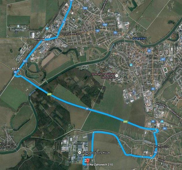 Trasa vládního speciálu na území Starého Města, Uh. Hradiště a Kunovic.