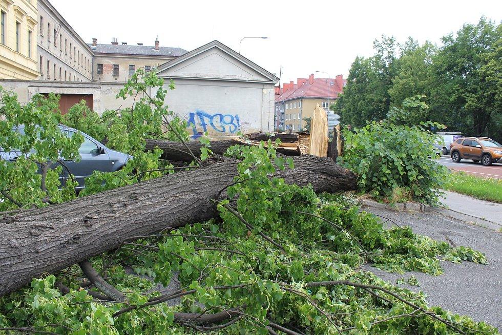 Větrné poryvy při bouřce 13. června 2020 zpečetily osud téměř 20 metrů vysoké lípy v blízkosti hlavní křižovatky v Uherském Hradišti u parkoviště Střední uměleckoprůmyslové školy.