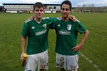 Fotbalový zubař Vít Dolina (vlevo) při studiu na vysoké škole působil v brněnské Bystrci, kde hrával i s bratrem Vojtěchem.