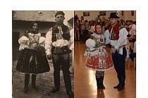 Na jedné fotce je neznámý pár z roku 1900, na té druhé z roku 2019 současný kroj.