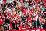 Fotbalové utkání HET ligy mezi celky SK Slavia Praha a 1. FC Slovácko 29. dubna v Praze. Fanoušci Slavie.