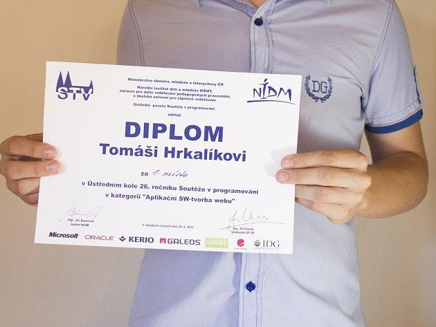 Vítěz celostátní programátorské soutěže Tomáš Hrkalík.