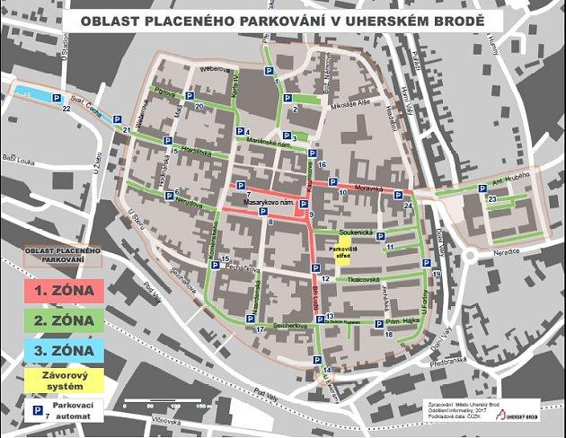Oblast placeného parkování vUherském Brodě