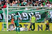 Fotbalové utkání Fortuna ligy mezi celky Bohemians Praha 1905 a 1. FC Slovácko 22. července v Praze. Tomás Fryšták.