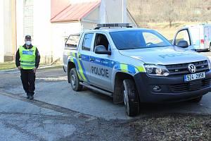 Policejní kontrola ve Stupavě směrem na Koryčany.