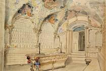 Interiér lékárny U zlaté koruny v Uherském Hradišti v kresbě Josefa Mánesa.