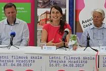 Tisková konference na 45. ročníku Letní filmové školy v Uherském Hradišti 26. července. Zleva Stanislav Blaha, Radana Korená a režisér Hynek Bočan.