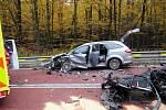 Při dopravní nehodě na silnici I/55 vedoucí skrze buchlovské kopce byly do nemocnice převezeni tři zranění.