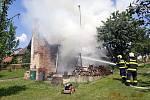 Požár chatky v uherskobrodských Havřicích.