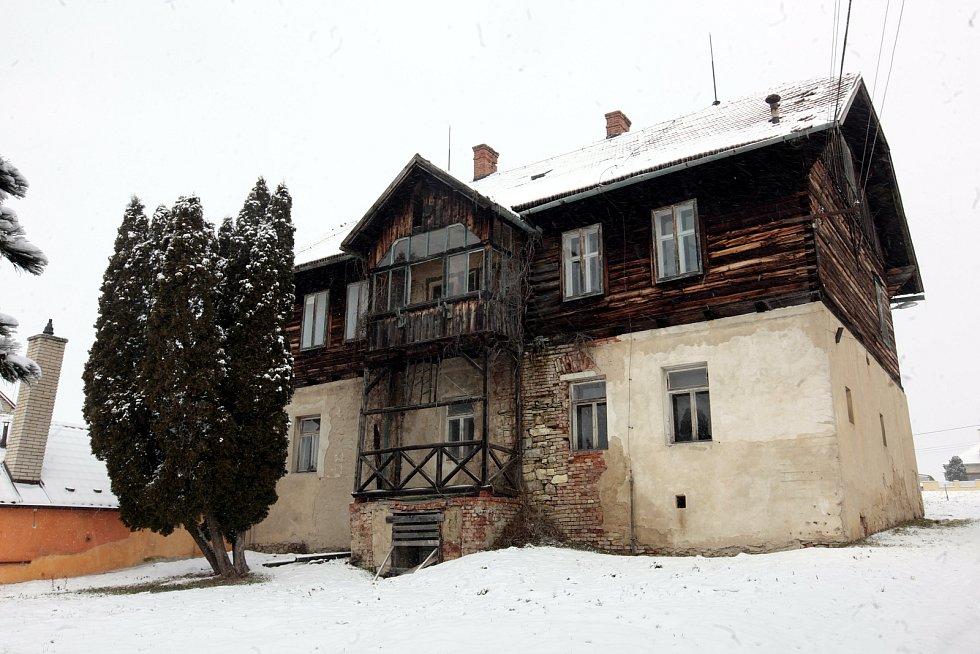 Horní Němčí v únoru 2021. Bývalá hájenka.