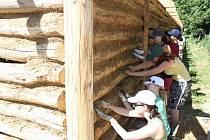 Studenti vyplňovali spáry mezi kládami blátivou mazanicí.