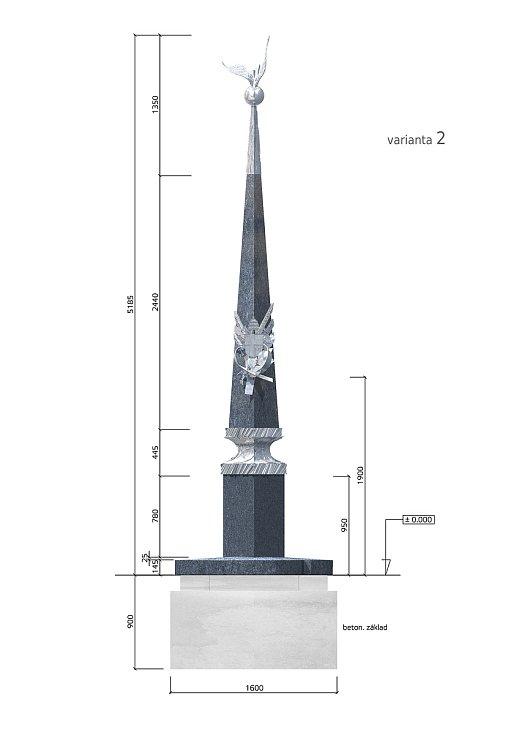 Vizualizace památníku návštěvy Jana Pavla II. v Tupesích od akademického sochaře Otmara Olivy.