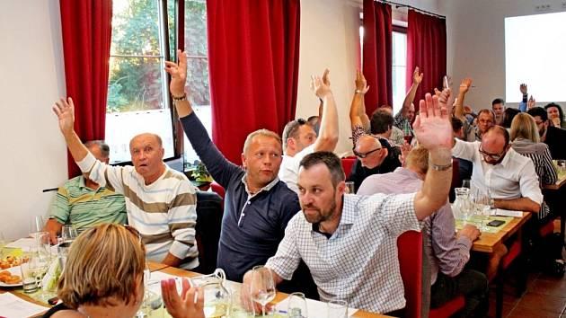 Pod Starýma horama v Boršicích hodnotilo 50 vinařů zcela netradičně 31 vzorků vína Tramín červený, které byly z pěti zemí Evropské unie.