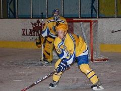 Obránce HC Uherský Brod Lukáš Matula sice v Blansku jednou skóroval, ani jeho gólový příspěvek ale mužstvu k bodovému zisku nepomohl.