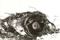 Trosky bojového MiGu 21 u Dolního Němčí po jeho pádu 17. ledna 1979.