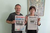 Na snímku zleva šéfredaktor Slováckého deníku Pavel Bohun a šéfredaktorka arménského listu Irates Piruza Meliksetyan.
