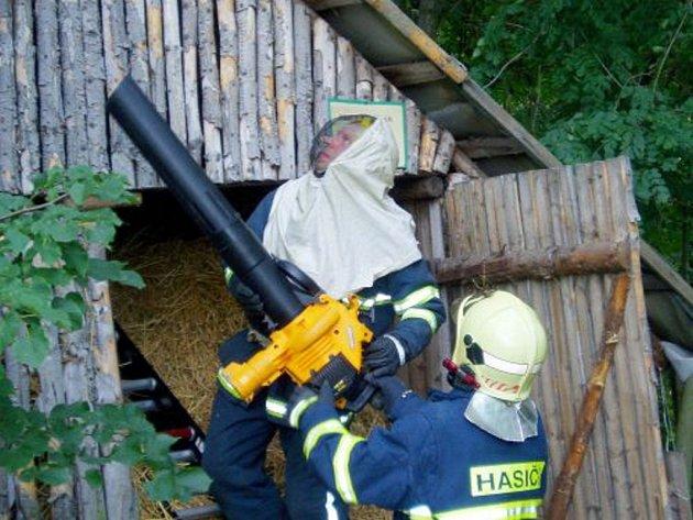 Nebezpečné roje hasiči likvidují pomocí speciálního vysavače.