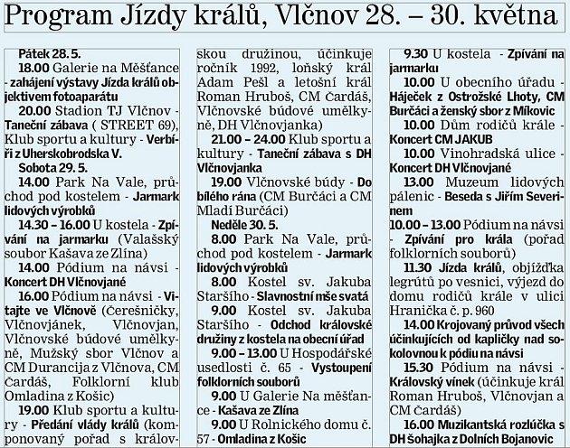 Program jízdy králů ve Vlčnově.