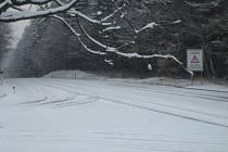 Silnice 1. třídy u Nového Dvora (Rasové) byla v sobotu pokryta několikacentimetrovu sněhovou pokrývkou.