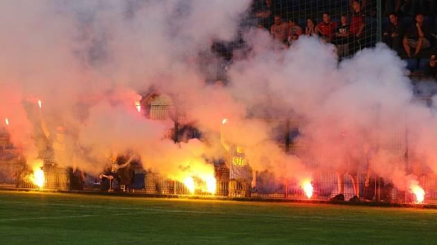 Chování fanoušků při zápase Zlín - 1. FC Slovácko.
