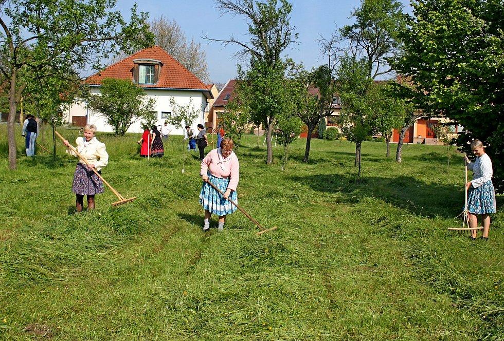 Prohlídka obce Babice. Kosení luk Baňou a jejími hosty.