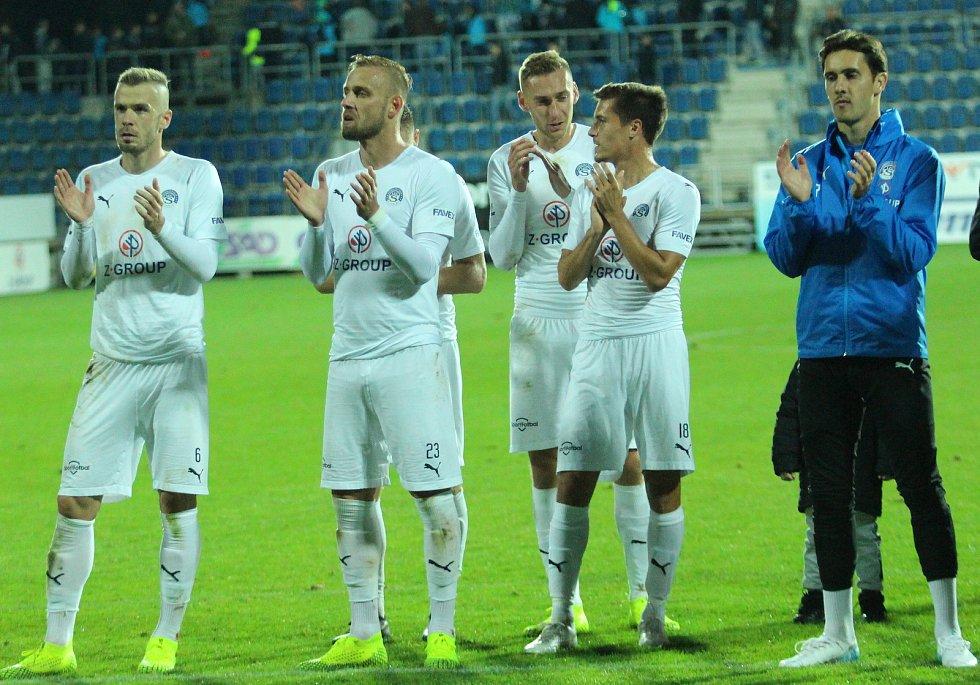 Fotbalisté Slovácka (v bílých dresech) v předehrávce 12. kola FORTUNA:LIGY porazili Liberec 3:1.
