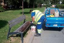 Díky zvýšenému dohledu nad dodržováním veřejného pořádku ve Štěpnicích byly natřeny pošpiněné lavičky novou barvou, ale také odchycena volně se pohybující užovka červená.