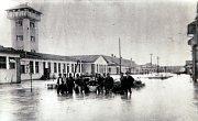 Výstava Povodně v Uherském Hradišti ve Slováckém muzeu. Areál nemocnice 1919