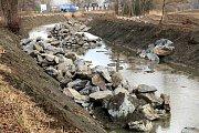 Oprava břehů Baťova kanálu u obce Huštěnovice.
