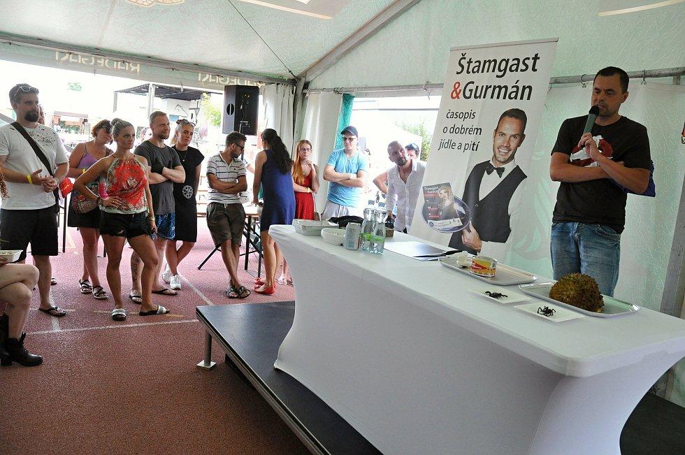 Maxijedlík Jaroslav Němec z Bystrého u Poličky (v černém tričku) se připravuje na svou exhibici na gastrofestivalu v Kunovicích na Uherskohradišťsku; neděle 9. srpna 2020