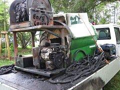 Požár zavlažovacího zařízení v Uherském Hradišti způsobil škodu 100 tisíc korun.