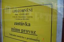 Autobusové zastávky ve směru na Jarošov k Mařaticím a sídlišti Východ jsou dočasně mimo provoz