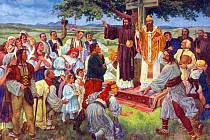 Častý námět pohlednic a vlasteneckých výjevů: Cyril a Metoděj kážou zbožným Moravanům; v pozadí Velehrad a Chřiby.