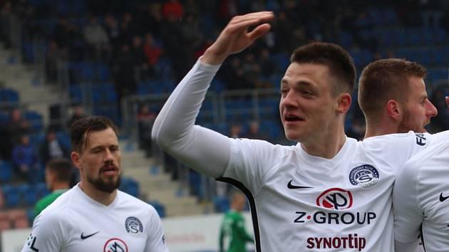 Záložník Slovácka Dominik Janošek slaví gólovou trefu