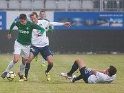 Čtvrtfinálový zápas českého fotbalového poháru - MOL Cupu mezi týmy FK Jablonec a 1. FC Slovácko se odehrál 7. března na stadionu Střelnice v Jablonci nad Nisou. Na snímku vlevo je Lukáš Masopust.
